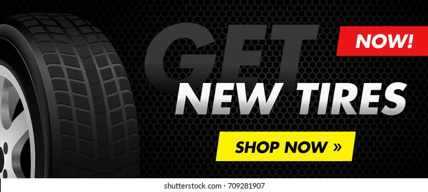 New tires online car shop horizontal banner
