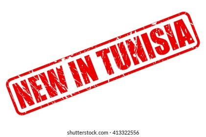 NEW IN TUNISIA red stamp text on white
