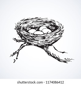 New twig woven eco birdnest on white backdrop. Line black ink hand drawn birdie embryo food object logo emblem sketchy in retro art doodle style pen on paper space for text. Closeup outline april view