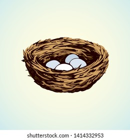 New twig woven eco birdnest on white backdrop. Bright brown color hand drawn birdie embryo food object logo emblem sketchy in retro art doodle style on paper space for text. Closeup outline april view
