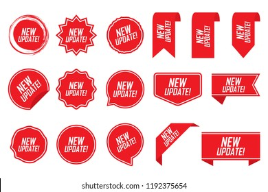 New update tag set in red. Vector illustration.