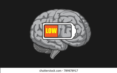 New vector of low IQ brain with LOW BATTERY ICON inside the brain.