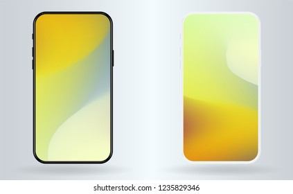 New vector mobile smartphone mockup . Realistic high quality phone concept with camera. Template For UI design display  without notch and frame. Abstract mesh amber colors wallpapers set