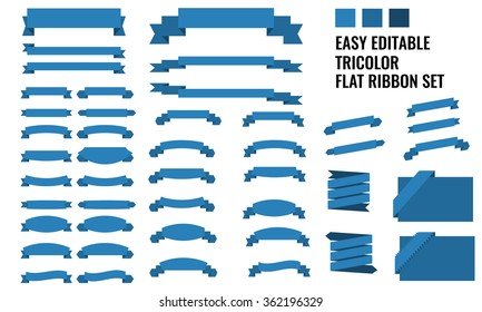 New vector set of tricolor, flat, long and short ribbon banner collection