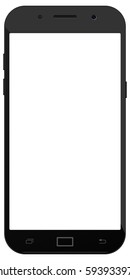 New vector smartphone black color with blank screen isolated on white background mockup. Realistic android phone illustration in eps 10.