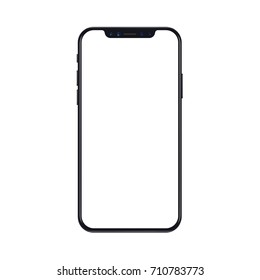 New version of black slim smartphone similar to iphone x with blank white screen. Realistic vector illustration.