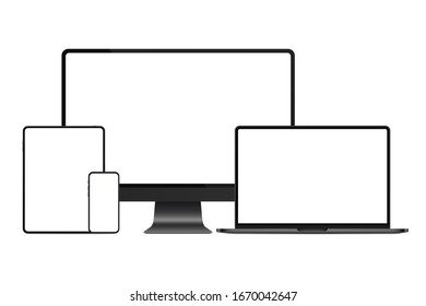 New version of dark black metal modern premium electronic devices set mockup. Computer, laptop, tablet and smartphone realistic high quality vector illustration