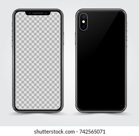 New Version of High Detailed Black Slim Realistic Smartphone isolated on Transparent Background. Front and Rear View Display. Device Mockup Separate Groups and Layers. Easily Editable Vector.