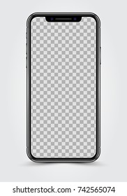 New Version of High Detailed Black Slim Realistic Smartphone isolated on Transparent Background. Front View Display. Device Mockup Separate Groups and Layers. Easily Editable Vector.