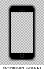 New Version of High Detailed Realistic Smartphone similar to iPhone 7 isolated on Transparent Background. Front View Display. Device Mockup Separate Groups and Layers. Easily Editable Vector.