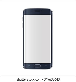 New version of modern edge screen smartphone with blank white screen. Vector illustration.