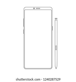New version of outline modern vector note smartphone. Thin line frameless elegant display smartphone with stylus.