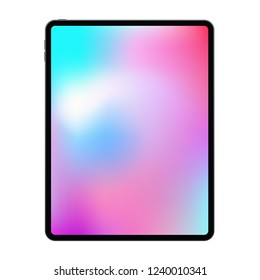 New version of realistic frameless premium tablet mock up in trendy thin frame design.