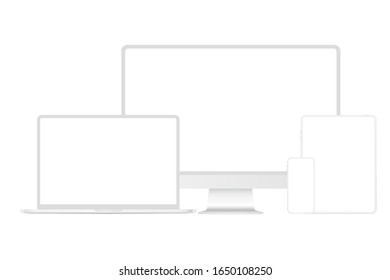New version of soft white modern premium electronic devices set mockup. Computer, laptop, pad tablet and smartphone realistic high quality vector illustration