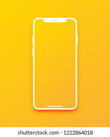 New version of white slim smartphone with blank screen. Realistic vector illustration.