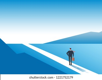 New way concept. Beginning journey adventures and opportunities. Businessman on road outdoor. Business vector background