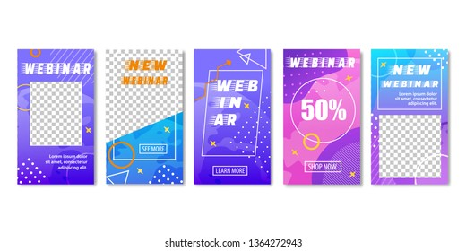 New Webinar with Big Discount Set of Templates for Social Media. Geometric Design with Triangle, Dots, Circle. Shop Now and See More Buttons. Webcast, Livestream, Real-time Collaboration via Internet.