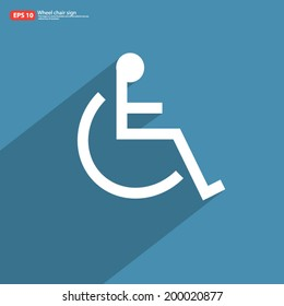 New wheelchair sign with shadow on blue vintage vector design