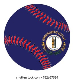 A new white baseball with red stitching with the Kentucky state flag overlay isolated on white
