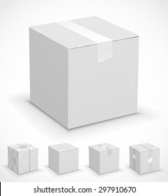 New white cardboard boxes wrapped in paper. Vector illustration set