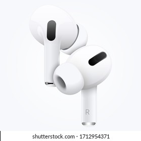 New white wireless headphones on both sides. Realistic Vector Illustration EPS10.