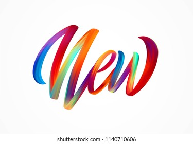 NEW word-sign, modern colorful flow lettering. Vector illustration EPS10