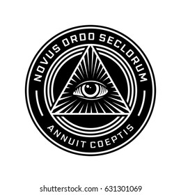 New World Order Emblem with All-Seeing Eye. Novus Ordo Seclorum
