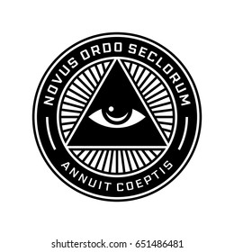 New World Order Emblem with All-Seeing Eye. Novus Ordo Seclorum