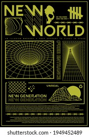 New World text with grid vector design for t-shirt graphics, banner, fashion prints, slogan tees, stickers, flyer, posters and other creative uses