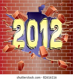 New Year 2012 breaking through red brick wall