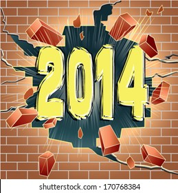 New Year 2014 breaking through red brick wall. Good or bed year.