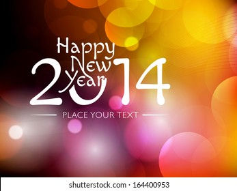 New Year 2014 colourful Background with elemental vector Drawing perfect for New year Party invitation cards.