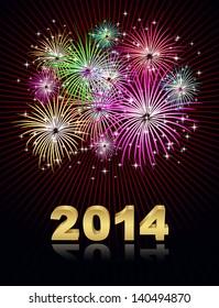 new year 2014 - fireworks background