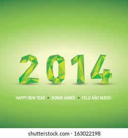 New year 2014 green 3D abstract background