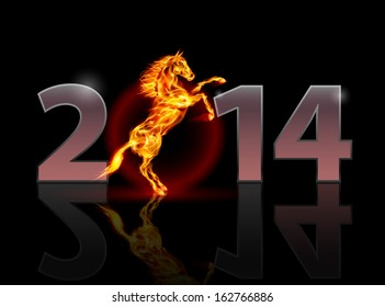 New Year 2014: metal numerals with fire horse. Illustration on black background.