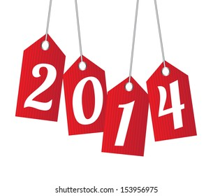 new year 2014 over white background  vector illustration