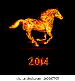 New Year 2014: running fire horse on black background.