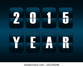 New year 2015 card. Mechanical timetable counter.