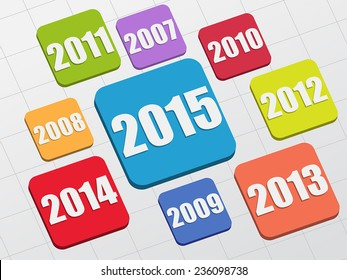 new year 2015 and previous years in 3d flat colored boxes, business concept