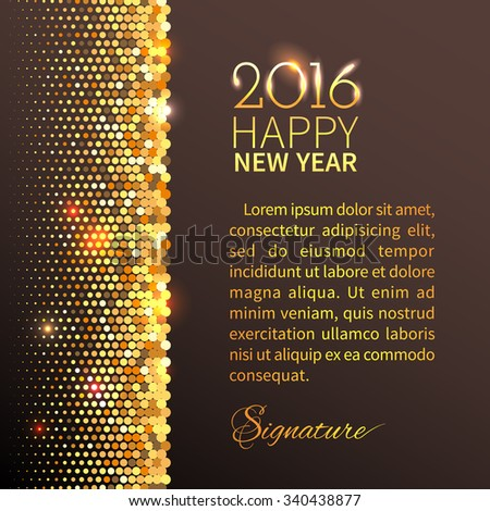 new year 2016 background gold shining vertical border with sparkling sequins in the disco style
