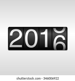 New Year 2016 design - odometer with white numbers rolling from 2015 to 2016, on white background.