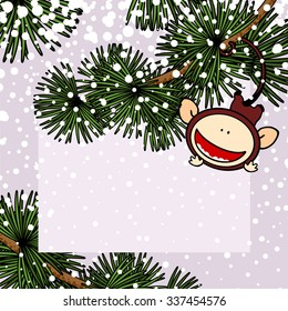 New Year 2016 greeting card with the Monkey hanging on a branch of a fir tree with it's tail
