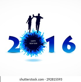 New year 2016 with the happiest people. Abstract poster