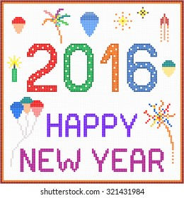 New year 2016 pixel message - 2016 New year message with balloons and fireworks. Square pixels of various colors have been used.