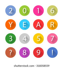 New Year 2016 white title text. Figures 1, 2, 3, 4, 5, 6, 7, 8, 9, 0. Flat circle icon blue, brown, cobalt, gray, green, indigo, magenta, orange, pink, purple, red, violet, yellow colors. Vector eps