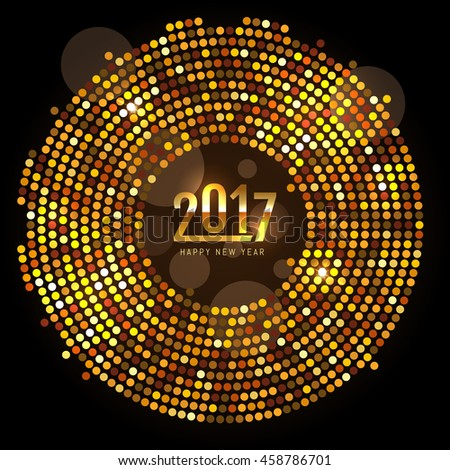 New Year 2017 celebration background. Happy New Year gold type on black background with gold disco sparkles and glitter. Greeting card template. Vector illustration.