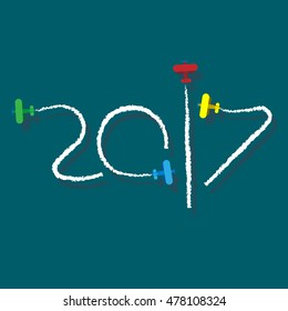 New Year 2017 concept - planes left traces in the form of numbers. Airplane write digits in the sky. Flat vector clip art.