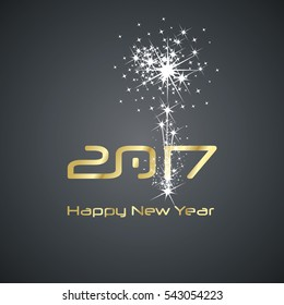 New Year 2017 cyberspace firework gold black vector