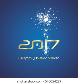 New Year 2017 cyberspace firework gold blue vector