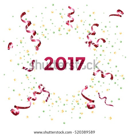 new year 2017 template design with streamer and confetti